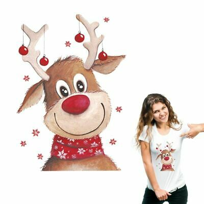Christmas Deer Heat Transfer Patches For Clothes Iron-on Style Washable Applique