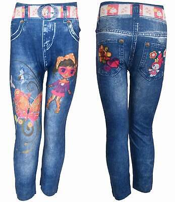 Girls Kids Leggings Printed Full Length Stretchable Polyester Blue Age 4-7 Years