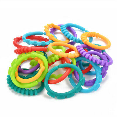 24pcs Bright Starts Lots Links Colourful Rings/links Toys Almost Anywhere Play