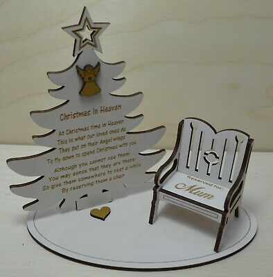 Christmas In Heaven Memorial Tree Mantle Plaque With Personalised Chair
