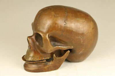 Chinese big old bronze hand casting cool skull head statue table home decoration
