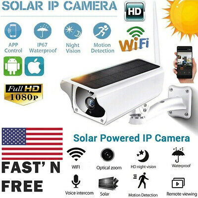 US Waterproof Solar Security Surveillance Camera Wifi Wireless IP 1080p IP67 PIR