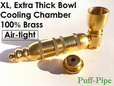 """Metal Tobacco Smoking Pipe Solid Brass Chamber Pipes Herb Proto 3/4"""" Screens"""