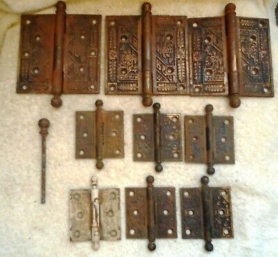 Antique vintage Copper 3 4 1/2 by 4 1/2 Door Hinges and 6 2 1/2 by 2 1/2 Inches
