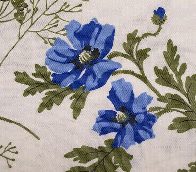Vintage Anemone Poppies Wilendure Tablecloth  55 x 67 w Tag Blue Printed Floral