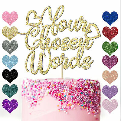 Customised Glitter Cake Topper Any Word Personalised Name Custom Gold Birthday