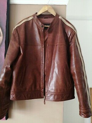 AIAKU Men/'s Buffalo  Leather Brown Jacket With a Rib Knit Collar Insert