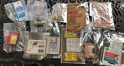 Vintage Junk Drawer Lot Sewing Items Needles, Thimbles, Scissors, Magnet, Etc