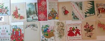 Lot 18 Vintage Christmas Cards 1940's-50's AS IS for Crafting Altered Art