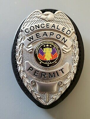 Concealed Carry Badge with Holder (SILVER)