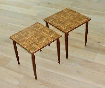 Pair (2) End Tables Mid Century Modern 1960's Parquet Formica Drumstick Legs