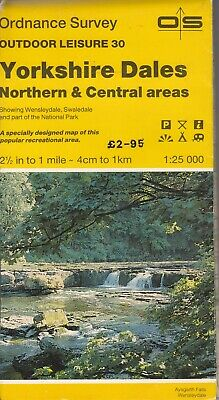 Ordnance Survey Map 1:25,000 Outdoor Leisure Sheet 30 Yorkshire Dales Nth & Cent