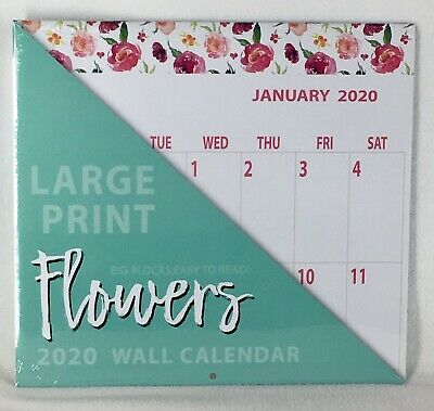 2020 LARGE Print Big Grid Blocks Room to Write Easy to Read Floral Wall Calendar