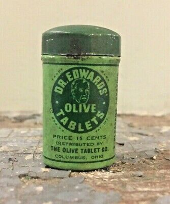Dr. Edwards Olive Tablets Mfg Columbus Oh Vintage Medical Tin Collectible Green