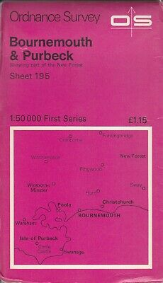 Ordnance Survey Map 1:50,000 First Series Sheet 195 Bournemouth & Purbeck
