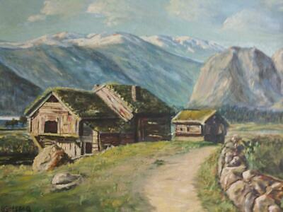 Old Vintage Oil Painting European Landscape Swiss Chalet House Mountains Art
