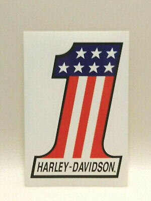 "Vintage Harley Davidson American Flag Number One #1 Decal Sticker 5.75"" x 4"""