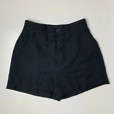 RARE Vintage 70s Levis Black Polyester High Waisted Shorts Waist: 24in   c