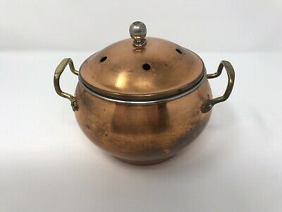 Vintage Solid Copper Bowl Brass Handles with Lid Rolled Edge Old Distressed