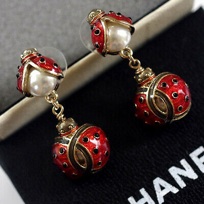 CHANEL Enamel Ladybug Pearl Crystal Gold CC Logo Drop Signed Couture Earrings