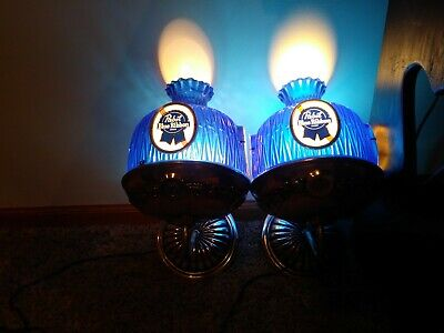Vintage Pair Pabst Blue Ribbon Beer Electric Wall Sconces Lights Lamps Bar Sign