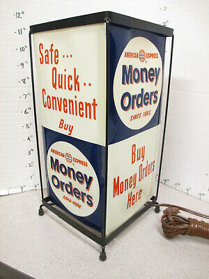 AMERICAN EXPRESS 1956 bank credit card store display sign advertising lamp order