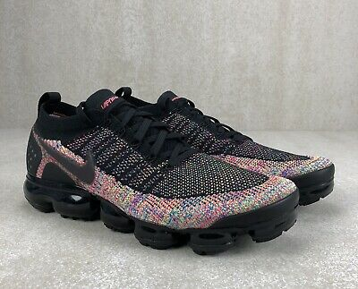 Nike Air VaporMax Flyknit 2 Black Multi Color New 942842 017 Mens Size 12.5