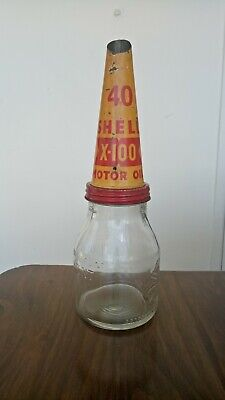 Shell clam embossed 1 imperial pint motor oil bottle with tin top