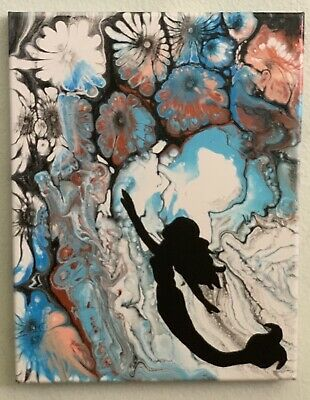 "Mermaid Abstract Acrylic Painting Canvas Fluid Art OOAK ""FLORA"" 11x14 Paint Pour"