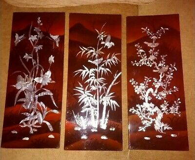 3 Vintage Asian  Lacquer Mother of Pearl Wall Panels Art Asian