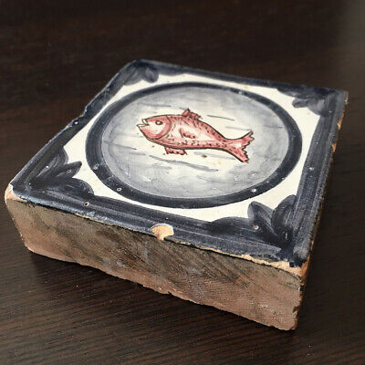 Antique Tile Terracotta Enamelled Eighteenth Handmade Painted Enamel 18thC