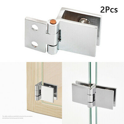 2 X Flush Door Hinges Zinc Alloy Small Large Cabinet Cupboard Glass Clamp