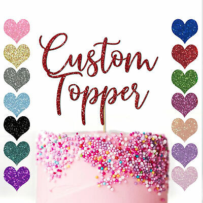 Custom Cake Topper Glitter Any Word Name Personalised Customised Gold birthday