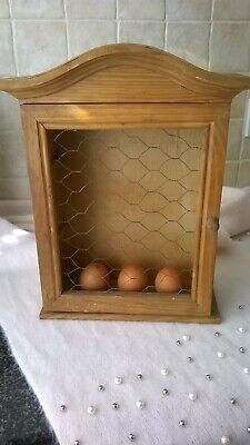 Vintage Wooden Egg Storage Cabinet Cupboard Kitchen Egg Display Stand