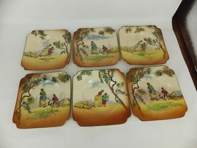 Royal Doulton Old English Scenes - The Gleaners set of 6 side plates