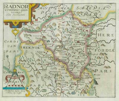 1607 - RARE 1st Edition Antique Map WALES RADNOR RADNORSHIRE by Saxton Kip/Hole