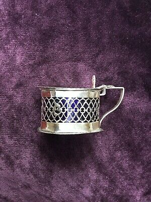 Antique Edwardian Solid Silver Pierced Mustard Pot with Blue Glass Liner -W.D