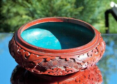 Beautiful Antique 19Th Century Carved Chinese Cinnabar Lacquer Bowl