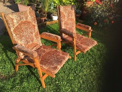 Pair Vintage Telefold Campaign / Fishing / Picnic Chairs By T Rigby & Co Ltd