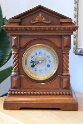 Antique German  Junghans Mantle Clock C/W  In Good Working Order