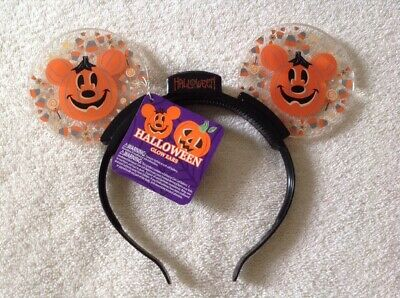 Disney Parks Halloween Pumpkin Mickey Light Up Glow Ears Candy Corn NWT
