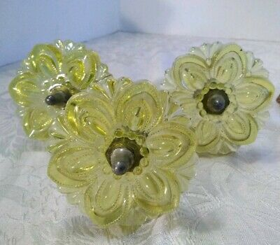 3 Antique Glass Flower Drapery Tiebacks Yellow Glass Decorative plus 1