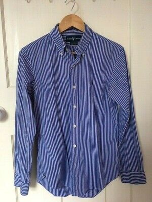 "Genuine Ralph Lauren Men's Shirt - Blue Striped - Slim Fit - Collar 15 1/2"" Inch"