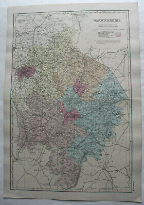 1898 Warwickshire - Antique County Map From 1898 Royal Atlas Of England & Wales