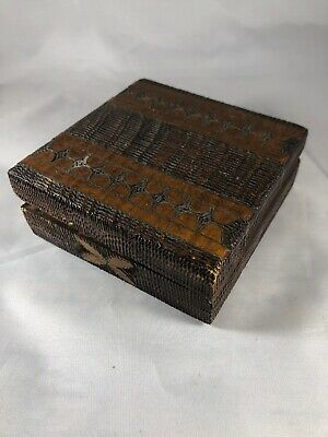 Vintage Square Wooden Box With Wood And Copper Inlay Hand Carved