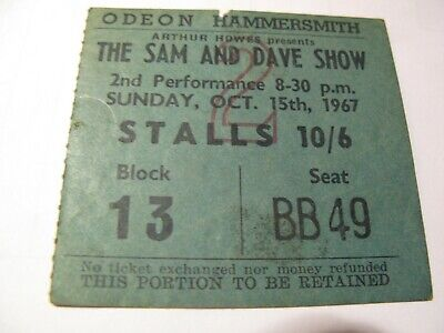 Sam And Dave Show Ticket Stub 1967 Hammersmith Odeon