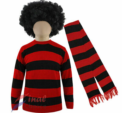 Unisex Fancy Dress Dennis The Menace Style Red And Black Jumper Costume Stag Do