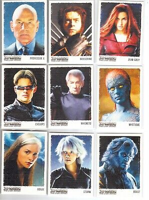 2006 X-Men The Last Stand Artes y Images Of The X-Men 9-CARD Juego