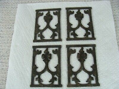 Antique Cast Iron Art Nouveau Architectural Teller's Cage Small Panels Set of 4