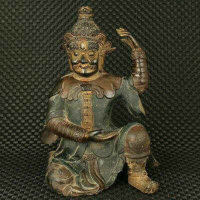 unique Chinese old bronze hand casting prince of Dharma statue noble decoration